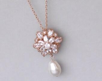Rose Gold Crystal Necklace, Rose Gold Pearl Necklace, Crystal and Pearl Bridal Necklace, Pink Gold Bridal Jewlery, JENNA RG