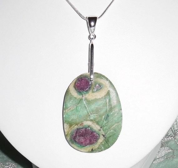 110 ct Natural Carved Ruby in Fuchsite Flower stone, Sterling Silver bail Pendant & Chain