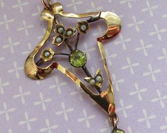Art Nouveau/Edwardian 9ct/9kt Gold Peridot Seed Pearl Lavaliere PENDANT