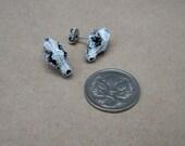 STEAMPUNK small resin wolf skull studs