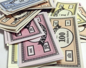 7 pieces of Monopoly Money, ideal for crafts - Abbey National - Essex - MONOPOLY Vintage GAME Pieces