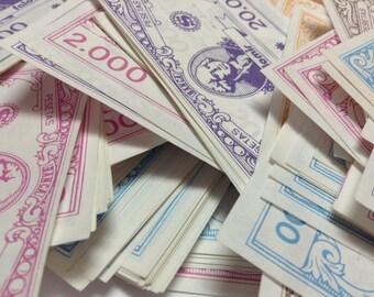 12 pieces of Spanish Monopoly Money, ideal for crafts - Falomir - En Pesetas - MONOPOLY Vintage GAME Pieces
