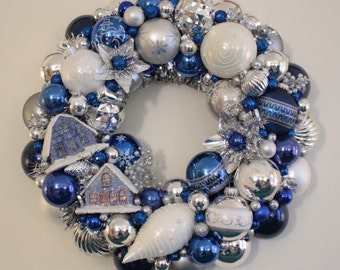 Blue Christmas Ornament Wreath Vintage Kitschmas with Putz House Snowman Hanukkah Radko