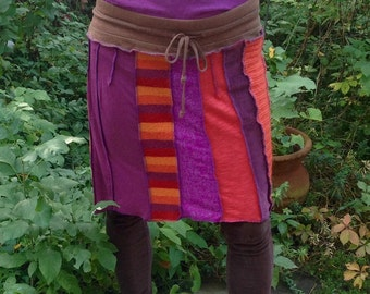 Upcycled Sweater Skirt Orange and Violet