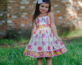 Girls Twirl Knot Dress Monogrammed Collection Toddler Infant Child
