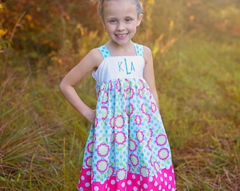 Girls Monogrammed Reverse Knot Dress Whimsy Daisies Collection Toddler Infant Girls