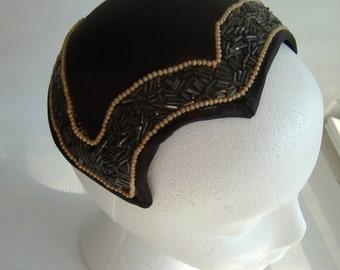 Vintage Black Beaded Fascinator