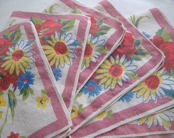 Set of Six Vintage Linen Napkins