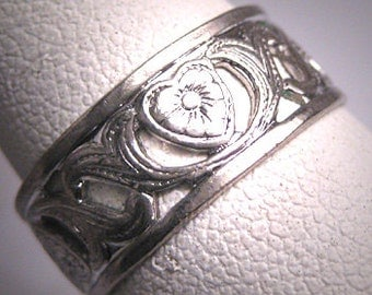 Antique Wedding Band Ring Vintage Heart Floral Art Deco 7 Rhodium