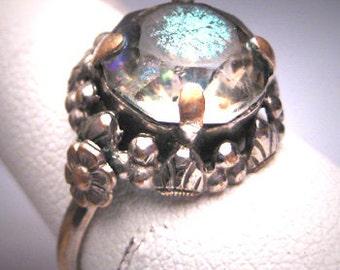 Antique Paste Ring Victorian Art Deco c.1920 Wedding Engagement Floral