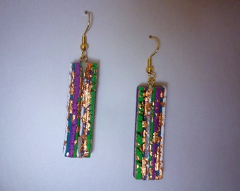 Torn Stripe Art Earrings Polymer Clay 3D in Purple, and Green with Gold Leaf Strata