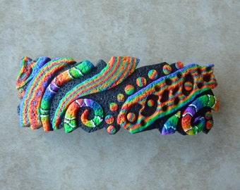 Rainbow Crazy Stripe Barrette, Large Freeform in Black and Rainbow Retro Polymer Clay