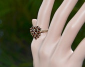 Edwardian Estate Bohemian GARNET Heart RING Vermeil size 7