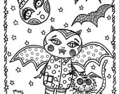 Halloween Instant Downloads 5 Pictures to color and create Adult Coloring for all ages.