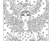 Angel Download instant coloring page to print Christian Art Scripture