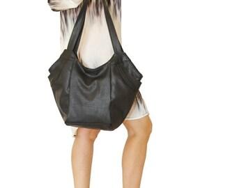 Summer SALE, Black vegan handbag, black shoulder Bag, black tote bag, vegan bag for women, everyday bag, vegan leather tote, travel bag, sho