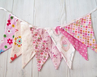 Sale - Owl decoration , owl banner , girl room , pink flags , fabric banner