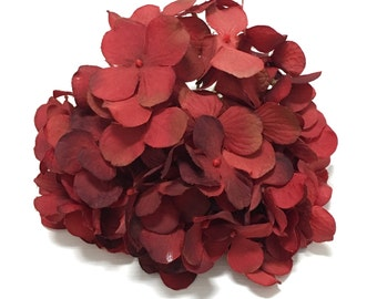 Silk Flowers - One Hydrangea Head in Shades of Brick Red with Brown - Top Quality - Artificial Flowers