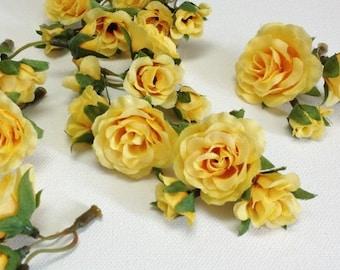 Silk Flowers - 27 Tiny YELLOW Mini Roses - MINIATURE Artificial Roses