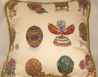 Russian Fabrege Eggs Gold Ivory Christmas Pillow French European