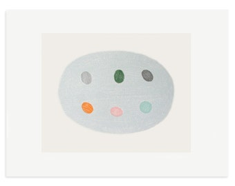 Fine art screenprint, abstract, pastel colours, gift for her, organic, modern by Emma Lawrenson