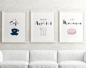 Set of 3 Prints // Paris Quote Wall Art, Paris Posters, Kitchen Poster, Paris Art Print, French Print, Paris Decor, Paris Wall Art Set