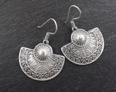 Ethnic Embossed Semi Circle Tribal Silver Earrings - Authentic Turkish Style