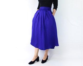 VINTAGE Silk Full Skirt Purple Long