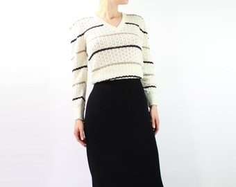 VINTAGE Striped Sweater 1970s Knit Top