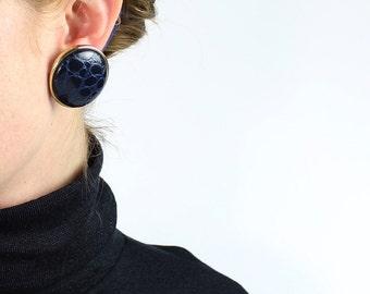 VINTAGE 1980s Big Earrings Round Crocodile Blue Pierced