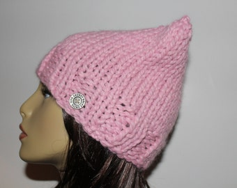 Pink Pussy Cat Hat, Knit Pink Hat, Pink Knit Beanie, Pink Knit Hat, Chunky Knit Cat Hat, Blossom Pink Cat Hat, Adult Knit Hat, Teen Knit Hat