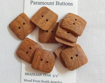 """3/4"""" Square Buttons Set of 10 Buttons  Handcrafted from Brazilian Teak Wood from South America"""
