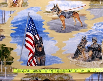 Military Fabric Men and Women Soldiers Paws of Valor Fabric Military Dog Fabric Men and Women Service Cotton Classics