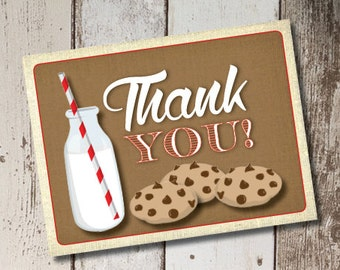 DIY Printable Milk and CookiesThank You Cards INSTANT DOWNLOAD
