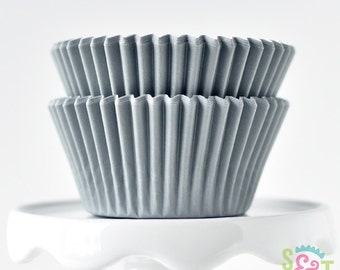 Solid Gray GREASEPROOF Cupcake Liners BakeBright Baking Cups | ~30 count