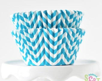 Chevron Aqua BakeBright GREASEPROOF Baking Cups Cupcake Liners | ~30 count