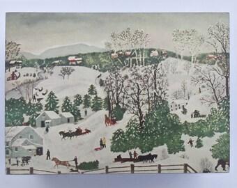 Handmade Wooden Keepsake Box features Grandma Moses Folk Art Print  Top with Satin Black Body