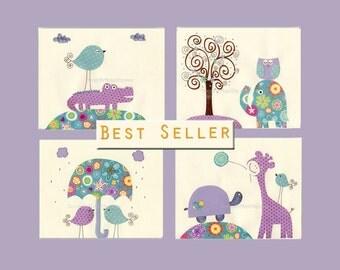 Girl Nursery Art Decor Kids Print Giraffe Crocodile Lavender Aqua Teal match Brooklyn Bedding Violet Purple girl room Nursery tree Turtle