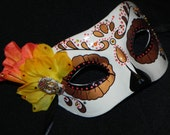 Orange, Yellow and Bronze Day of the Dead Mask with Skull Accent - Halloween Mask