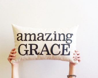 "amazing grace decorative pillow cover, 12"" x 20"", typography, inspirational bible verse, natural cream, Christian decor"