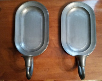 Vintage Set Pair of Colonial Casting Co Pewter Candle Holder Sconce 1970s