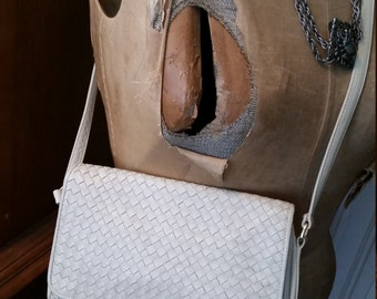 SALE Vintage Cream Off White Leather Ganson Woven Purse Bag 1980s