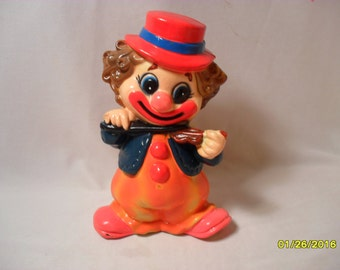 So Cute Vintage Plastic Clown with Violin Coin Bank
