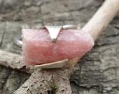 Rough Pink Tourmaline Ring. Raw Tourmaline Ring. Adjustable Ring. Gemstone Ring. Tourmaline Ring. Open Ring. Raw Pink Tourmaline and Silver.