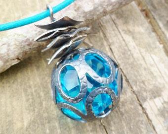 Bohemian Glass Pendant. Turquoise Glass Pendant. Oxidized Silver Pendant.