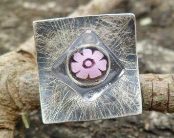 Fused Glass Ring. Flower Ring. Adjustable Ring. Handmade Fused Glass Ring. Oxidized Silver Ring. Millefiori Ring. Art Glass Ring.