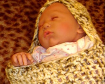 PDF Crochet Pattern, PATTERN  P2 -Crochet Baby Cocoon pattern - w/hood or not - For Photo Prop - PDF