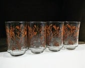 Libbey autumn leaves juice glasses, set of 4 vintage drinkware