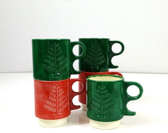 Vintage Christmas Tree Mugs in Red and Green, set of 5, Stacking ceramic cups