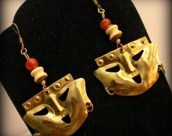 Pre-Columbian Style Earrings with Bone & Agate Beads